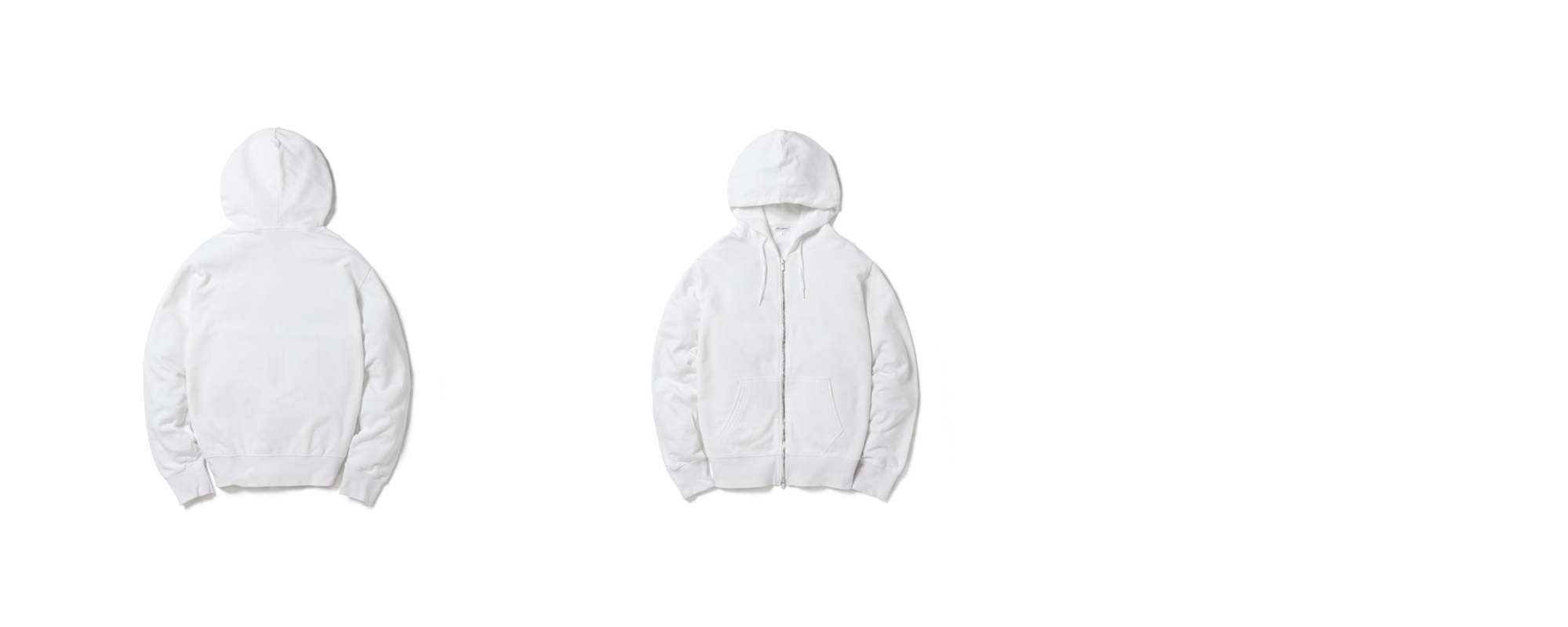 Light Zip Up Hoodie White